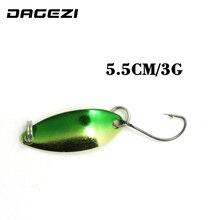 DAGEZI 30pcs/lot  metal Lure fishing bait spoon lures 3G fishing lure 6 colors Retail Box fishing tackle box pesca