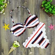 Women Bikini Triangle Bandeau Scallop Black Red White S M L