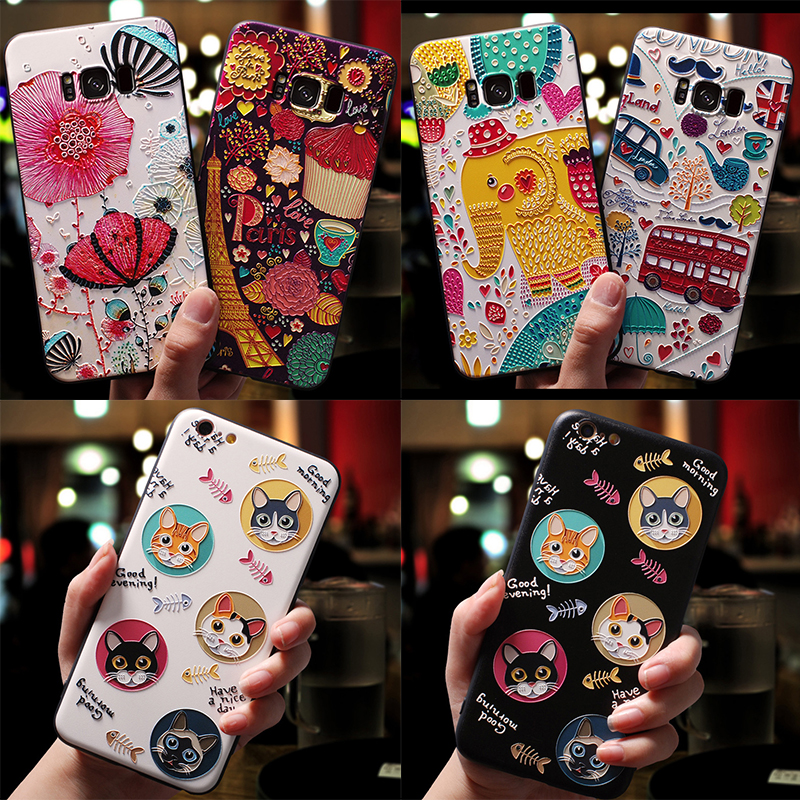 3D Cartoon Cat Emboss Cases For Samsung Galaxy M20 S10 Lite S6 S7 Edge S8 S9 A9 A8 A6 Plus A7 2018 Star A3 A5 2017 2016 Case TPU