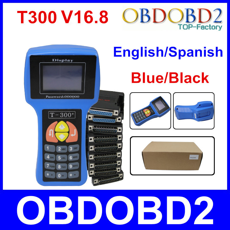 Professional Auto Key Programmer T300 Newest V16.8 T 300 T-CODE English or Spanish Blue/Black Cars T-300 Auto Transponder