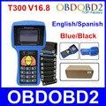 Profissional Auto Programador Chave T300 Mais Novo V16.8 T 300 T-CODE Inglês ou Espanhol Azul/Preto Carros T-300 Auto Transponder