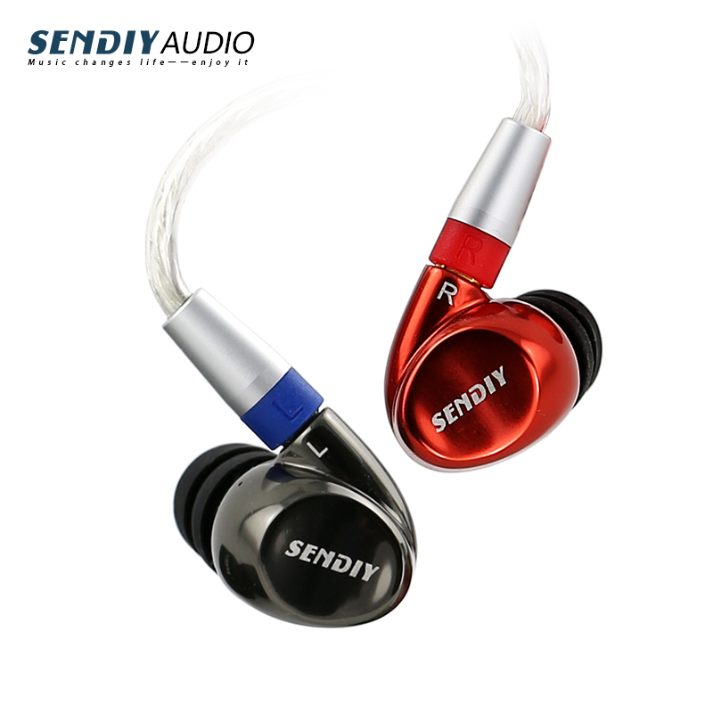 Sendiy M1221 Concentric Dynamic and Armature Double Unit Metal  HIFI Earbuds In Ear Hook Earphone Hybrid Technology Headsethttp: