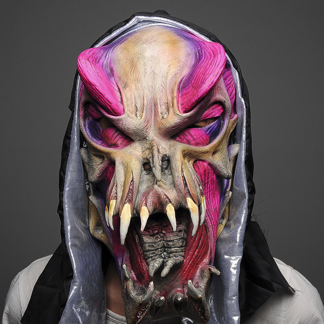 H&D Scary Creepy Ugly Monster Masks,Halloween Full Face Masquerade Cosplay Creepy Horror Mask,Latex