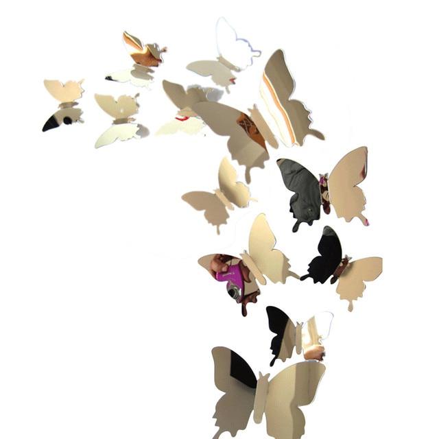 12pcs/set cheap cartoon mirror sliver 3d butterfly wall stickers