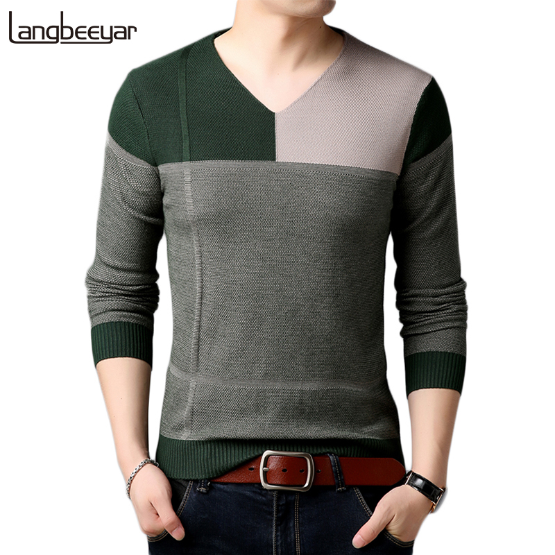 2019 New Autumn Winter Fashion Brand Clothing Men's Sweaters Contrast Color Slim Fit Men Pullover  V Neck Knitted Sweater Men