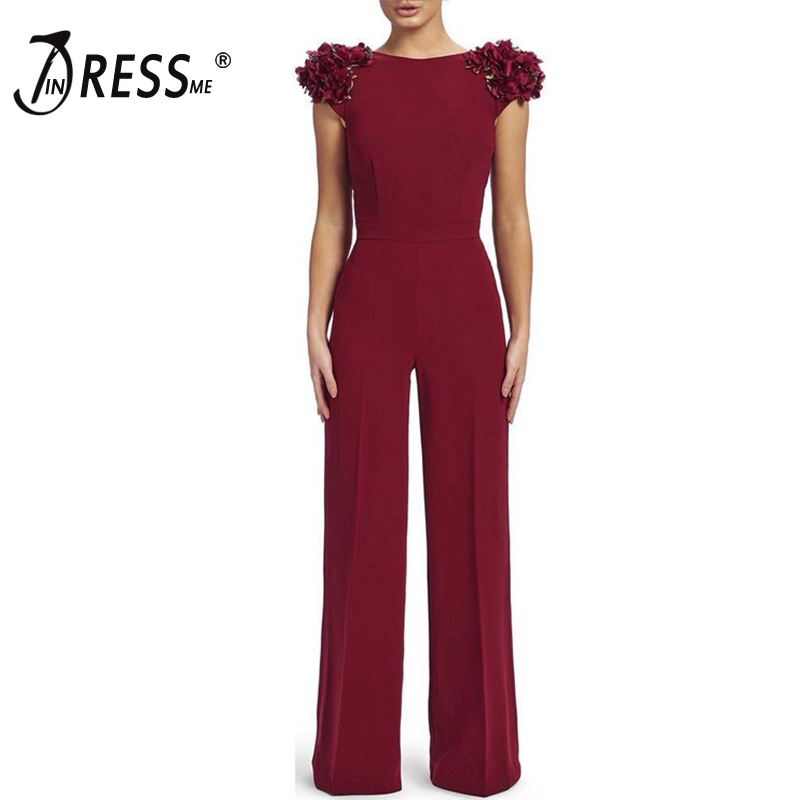 INDRESSME 2019 Women Fashion Sexy Runway Floral Short Sleeve Backless   Jumpsuits   Romper Party Club Bodycon Female Bodysuit