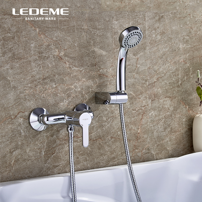 LEDEME Wall Mounted Bathtub Faucet Shower Brass Body Showers with 3-Function Handhead ABS Shower Head for Bathroom, Chrome L2003