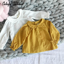 Toddler Girls Blouses Spring Baby Cotton Shirts Jacquard Kids Flare Sleeve Tops Girls Blouse 0-3T Casual Fashion Clothing