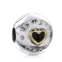 925 Sterling Silver Lock Clip Stopper Charms Gold Heart Family Beads For Original Pandora 925 Sterling Silver Bracelets Bangles