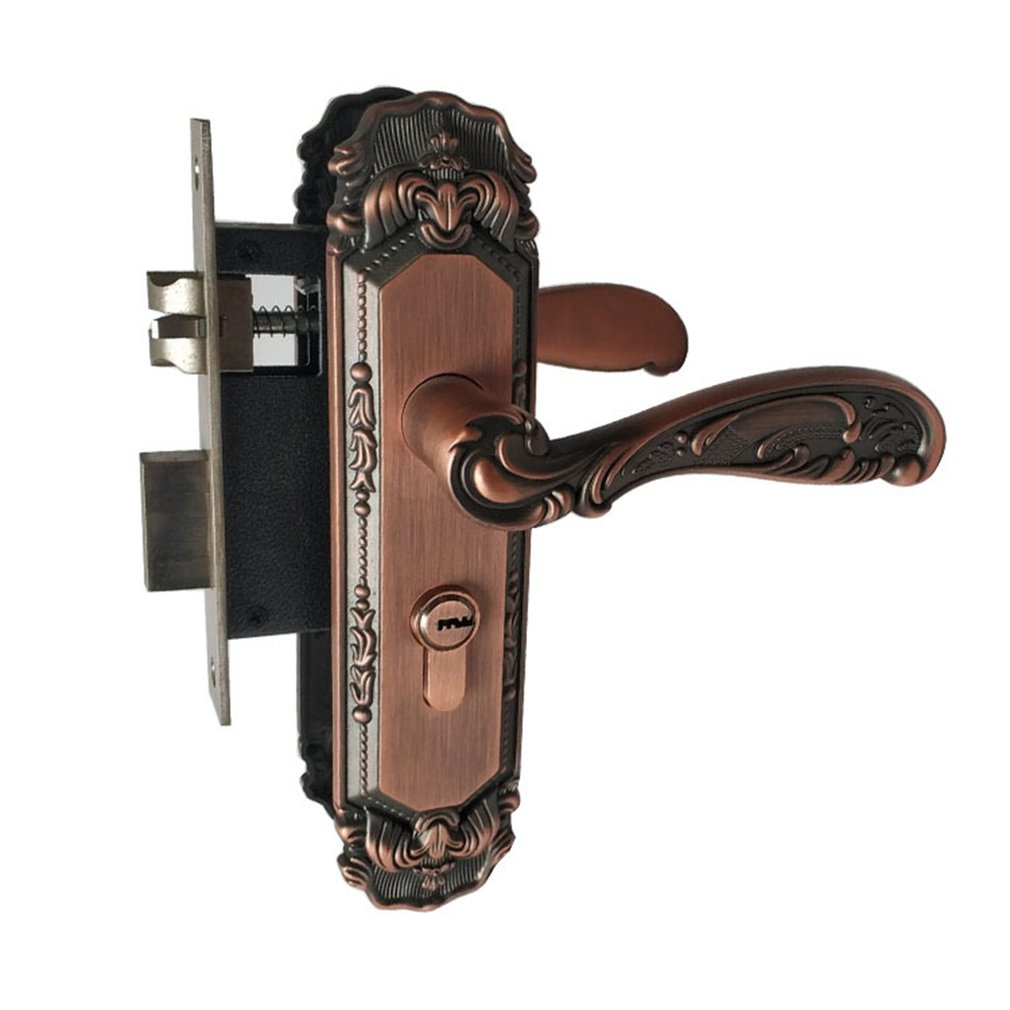 Indoor Wooden Door Lock Copper Lock Core Copper Key Double Tongue Lock Body Hardware Zinc Alloy Handle LockIndoor Wooden Door Lock Copper Lock Core Copper Key Double Tongue Lock Body Hardware Zinc Alloy Handle Lock