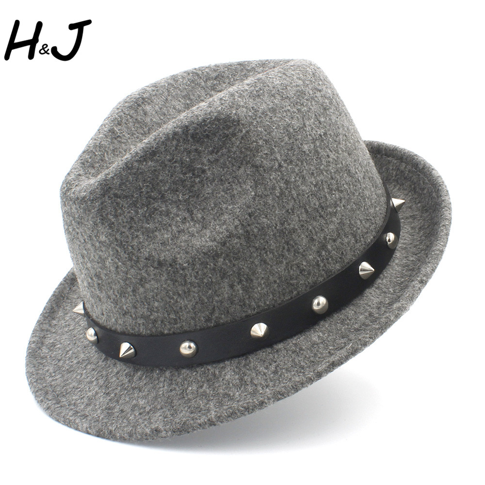 e1e7b6daad4 100% Wool Women Men Fedora Hat For Winter Autumn Elegant Lady Dad Cashmere  Trilby Homburg Church Jazz Hat With Punk Belt