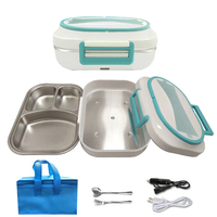 12V 220V Electric Lunch Box Stainless Steel Home Office Car Bento Box Food Warmer Portable Heater Rice Travel Dinnerware Sets