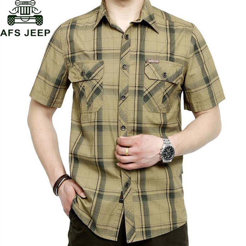 AFS JEEP Brand Army Military Shirt Men 2018 Summer 100% Cotton Plaid Short Sleeve Mens Shirts Plus Size 4XL 5XL Camisa masculina