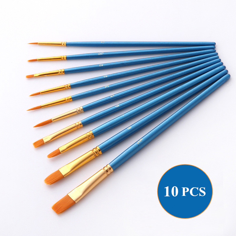 10Pcs/bag Watercolor Gouache Paint Brushes Different Shape Round Pointed Tip Nylon Hair Painting Brush Set Art Supplies 4 Colors
