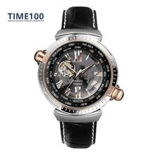 Men's Brand Automatic Self-Wind Watch Skeleton Dual Time Zone Genuine Leather Strap Tourbillon Style Original Mens Watch W076