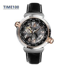 Men s Brand Automatic Self Wind Watch Skeleton Dual Time Zone Genuine Leather Strap Tourbillon Style