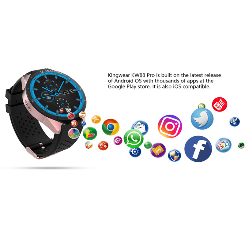 kw88 pro wearable devices mobile watch smart watch men 3G WCDMA 16GB/ROM 1GB/RAM smartwatch android pulseira inteligente