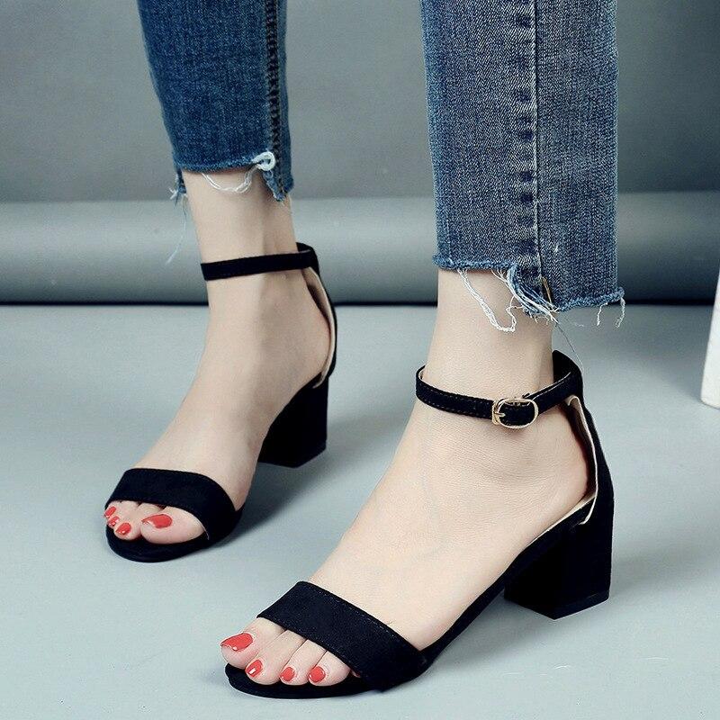 2018 Summer Women Shoes Korean Style Gladiator Shoes Women Sandals Open Toe Flip Flops Women's Sandles Thick Heel 34-40 цена