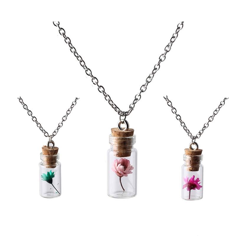 New Top Fashion Jewelry Silver Chain Lovely Girl Flowers Plants Wishing Bottle Necklaces Pendants For Women