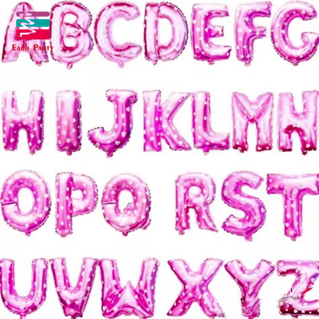16 inch pink letter a to z alphabet foil balloons letter birthday party wedding thanksgiving decoration