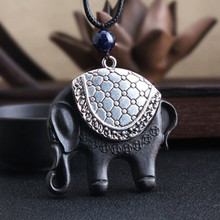 Sanyu Women Boho Tibetan Silver Ethnic Necklace Black Wood Elephant Pendant Long Necklace Rope Chain Sweater Chain Jewelry Gift 925 pure silver silver manufacturers china wind auspicious elephant pendant and intime stereo sweater chain pendant