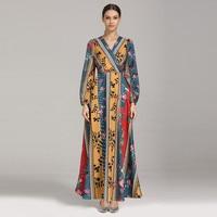 Muslim Fashion Women National Style Print Maxi Dress Bohemian Thin Beach Beauty V Neck Dress Ankle Length Casual Dress