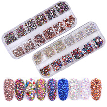 Multi Size 1Box Glass Nail Rhinestones Mixed Colors Flat-back AB Crystal Strass 3D Charm Gems DIY Manicure Art Decorations