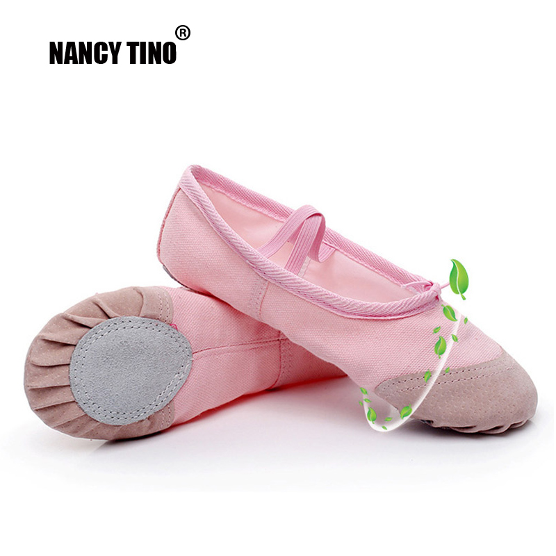 NANCY TINO Adult/Girl Canvas Soft Ballet Shoe Yoga Practice Flats Leather Outsoles Gym Sport Women Pointe Toe Dance Shoes