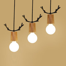 2019 New Design Retro LED Pendant Light Antler Art Wood 5W E27 Oak lamp holder Hanging light fixture For Linving Room Home