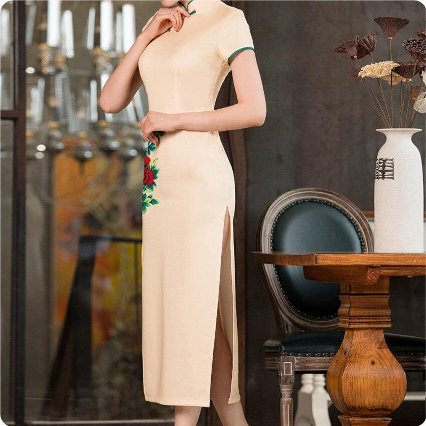 2017 Ladies Sexy Slim Cheongsam Qipao Long Dress Chi Pao Silk ...