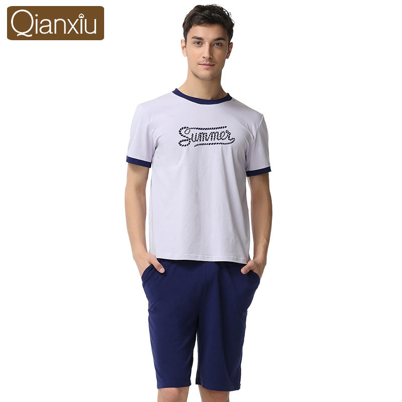 Qianxiu Couple Pajama Sets For Men Modal Cotton Lounge Wear Casual Homewear 1653
