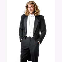 2017 Double Breasted Tailored Made Tailcoat black Notch Lapel Mens suit Dress Wedding Evening Suits for men (Jacket+Pants+Vest)