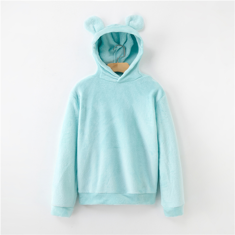 Women's Flannel Hoodies Sweatshirts Lovely With Bears Ears Solid Warm Hoodie Autumn Winter Casual Campus Pullovers Coat 3