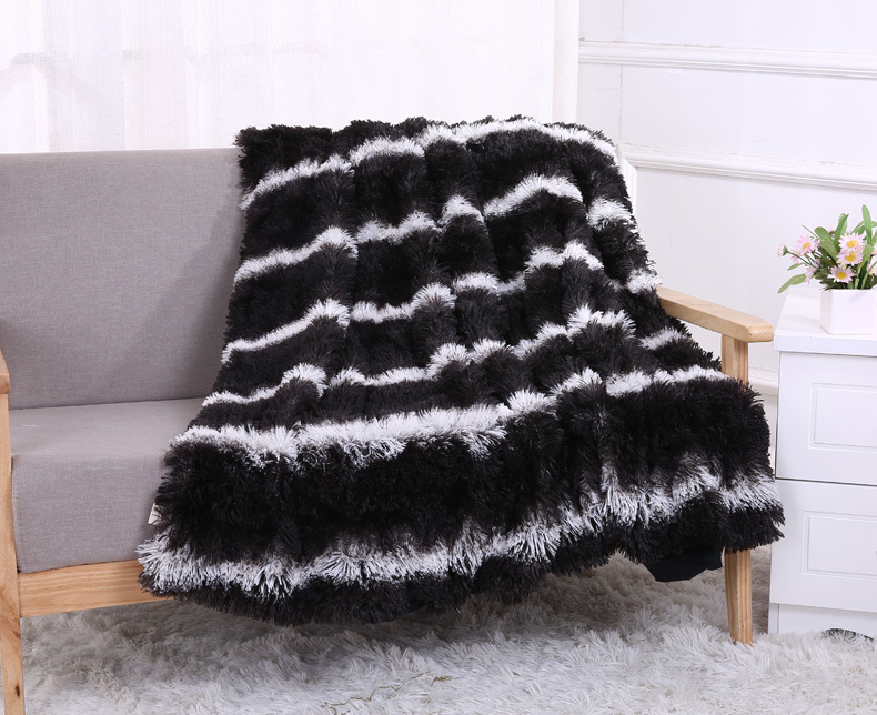Black Super Soft Long Shaggy Fuzzy Fur Faux Warm Elegant Cozy With Fluffy Sherpa Throw Blanket Bed Sofa Cover Bedspreads Gift
