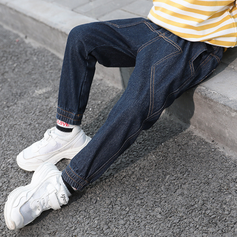 Jeans For Boy 2018 Autumn Winter Boy Clothes Teenager Harem Cotton Denim Pant Loose Long Trousers Kids Teens 4 6 8 10 11 12 Year destroy wash frayed harem jeans