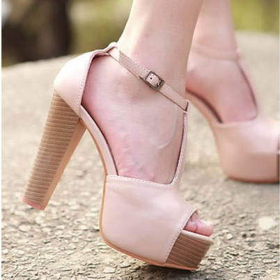 2014 Summer Sexy T strap Chunky High Heels Sandals Women Summer Wooden Pump  Shoes platforms sandalias Black Pink Color. SHP41023-in Women s Pumps from  Shoes ... 4797a3d29772