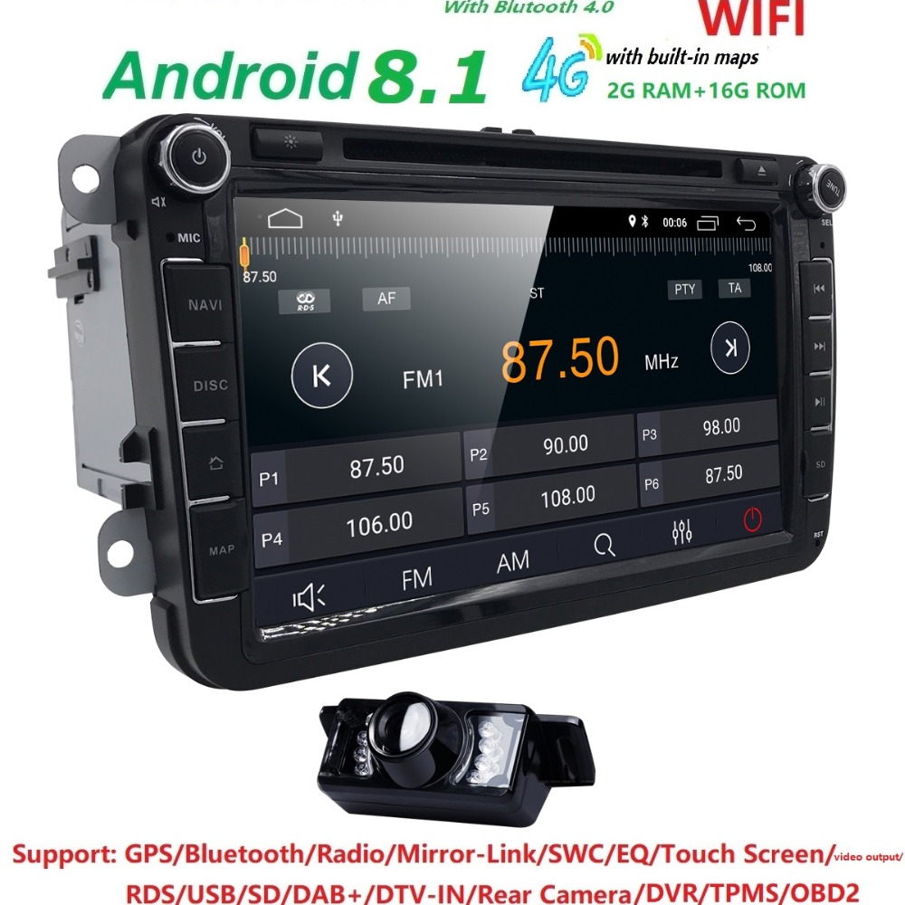 Free Camera Quad Core Android 8.1 2 Din Stereo 1024X600 Car DVD Player for Volkswagen Golf Plus Polo EOS DTV DAB+SWC DVR RDS BT dtv i6 70