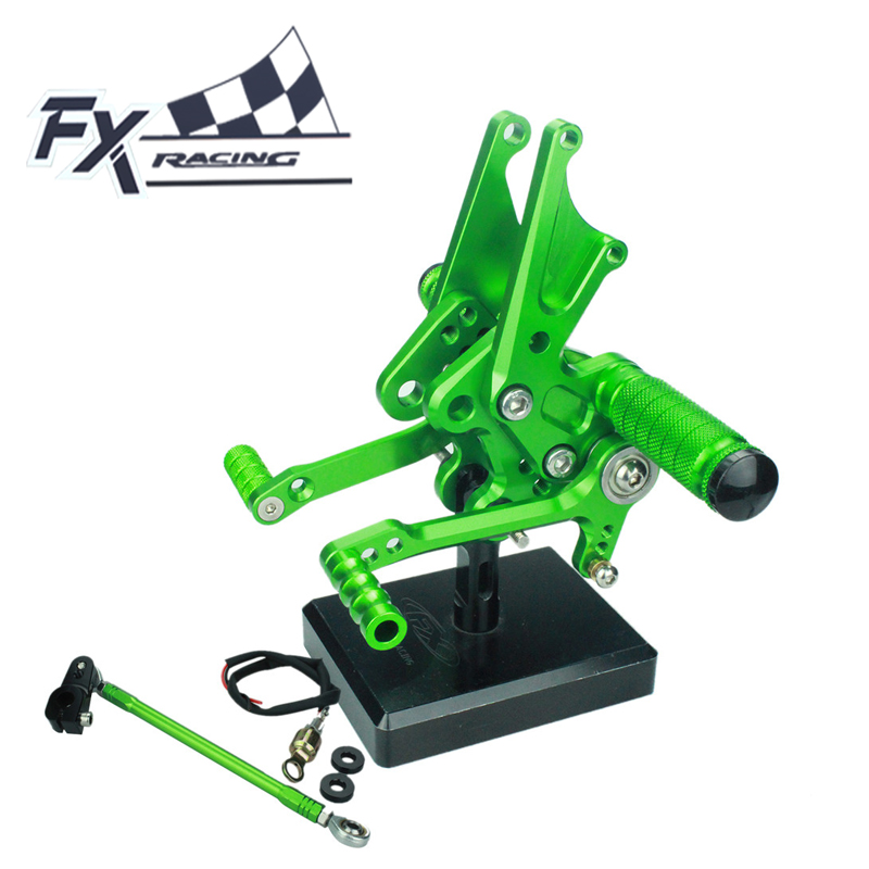 FX Aluminum Motorcycle Rearsets Rear Set Foot Pegs Pedal Footrest For Kawasaki ZX14 ZZR1400 2006-2011 2007 2008 2009 2010 aftermarket free shipping motorcycle parts eliminator tidy tail for 2006 2007 2008 fz6 fazer 2007 2008b lack