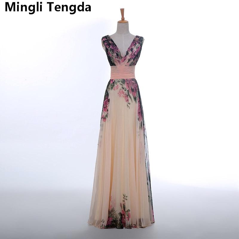 2017 New Color Long Prom Dresses Sexy Pattern V Neck Beach Prom Dresses Long Pleated Abendkleider Robe De Soiree Mingli Tengda