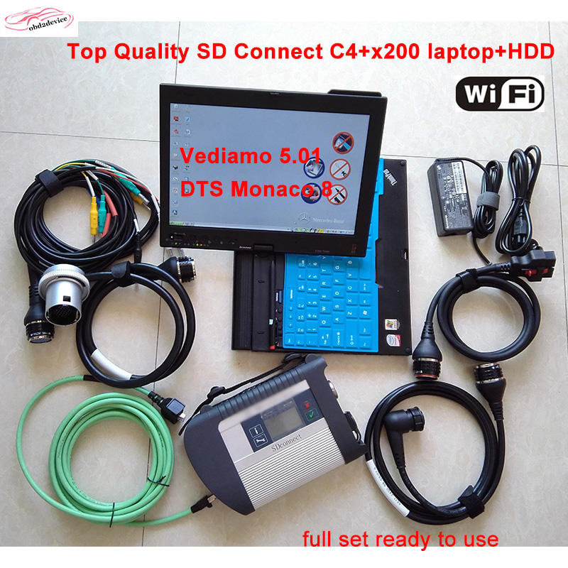 Car diagnostics MB Star SD Connect C4 2017 12 HDD x200t laptop with Xentry Vediamo DTS