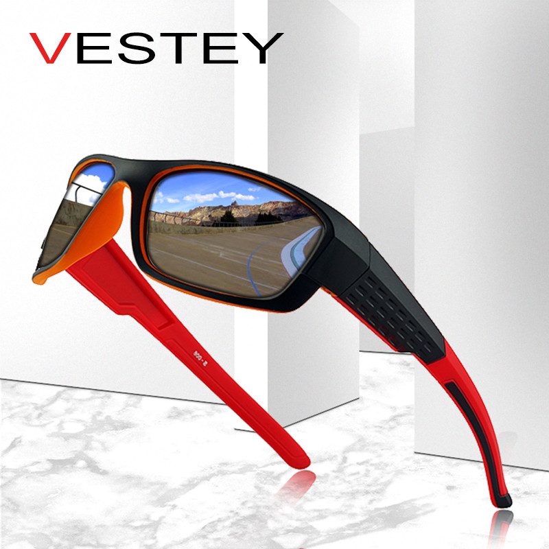 VESTEY Brand Design Polarized Solglasögon Män Coola Vintage Man Sun Glasses Shades Glasögon Gafas De Sol