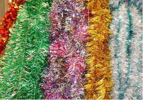 Foil tinsel garland christmas hanging decoration in artificial