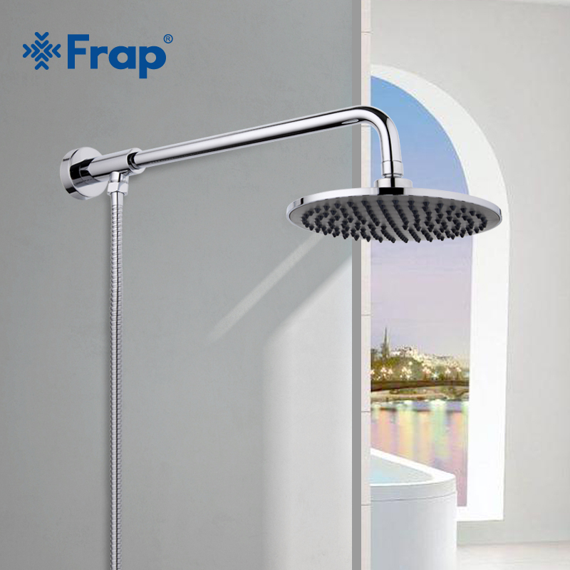 FRAP Hot Selling 205*205mm ABS shower head with stainless steel arm top water saving Overhead rain shower F2406-1