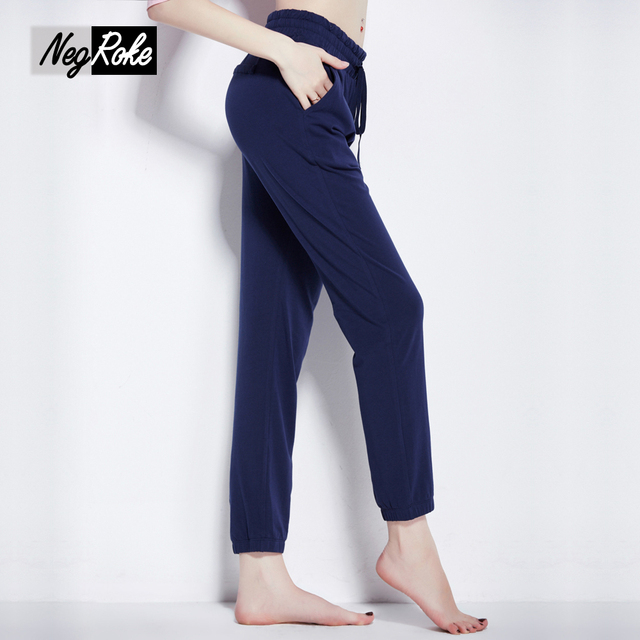 Venta caliente de primavera de algodón puro casuales pantalones de pijamas homewear mujeres pantalones para mujeres pijamas de dormir de Calidad de Color Sólido pantalones