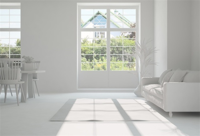 Laeacco White Living Room French Window Sofa Sunshine Baby Interior