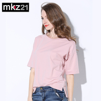 2017 New High Quality Candy Color Simple T Shirt Women Solid Color Tees Plain Cotton Short