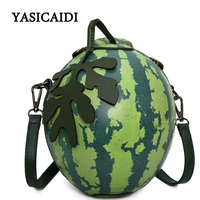Women Messenger Bags Fashion Green Watermelon Shape Personality Mini Girl Party Bag Gift Leaves Luxury Brand