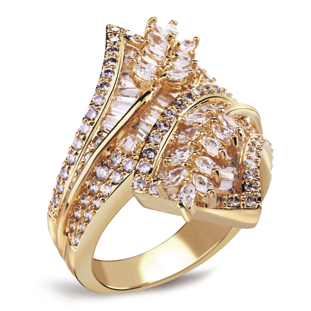 Free Shipping Women Fashion Sweet Cute Lead Free White Color & Gold Color  Plated Clear Color Zirconia Stone Engagement Rings