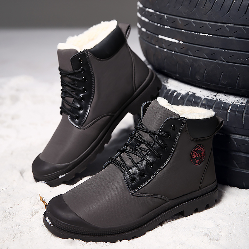 Men's Winter Boots Plus Size 45 Snow Boots Waterproof Ankle Boots For Boys Lace Up Short Plush Warm Shoes Comfortable