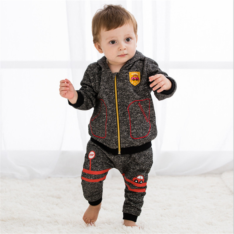 Cute print Baby Boys Girl Clothes Baby Boys Clothing Sets Fashion Cartoon Style Hooded Long Sleeve + Pants 2PCS sport Suits good quality baby clothes coat pants 2pcs fashion cotton denim sets 2018 baby boy boys clothes suits children boys clothing